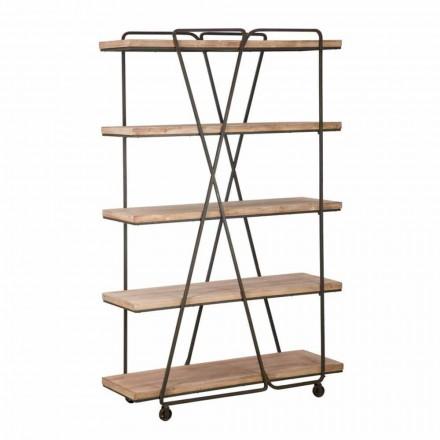 Industrial Style Design Floor Bücherregal aus Holz und Eisen - Soline
