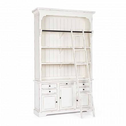 Klassisches Design Holz Bücherregal mit Homemotion dekorative Leiter - Zeder