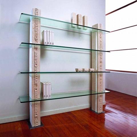 Modulares Bücherregal in Stein und Glas modernes Design Galen