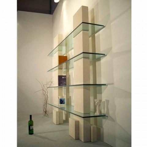 Modulares Bücherregal in Stein und Glas modernen Design Poplia