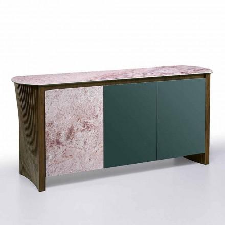 Luxus Sideboard in Gres mit Struktur in Holz und Mdf Made in Italy - Cunea