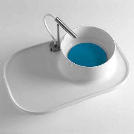Aufsatzwaschbecken mit Regal aus glänzend weißer Keramik - Uber