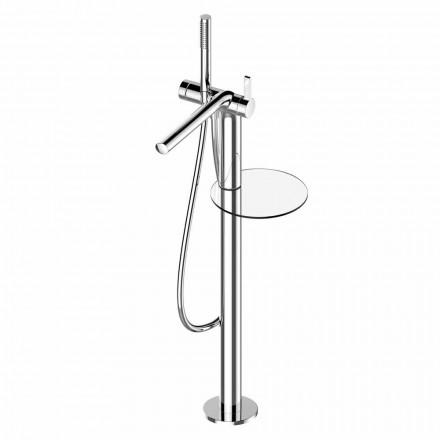Einhebelmischer für freistehende Badewanne mit Messinghandbrause - Pinto