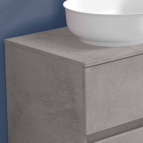 Abgehängte Badezimmermöbel und ovales Waschbecken, modernes Design - Cesiro