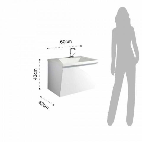 Badezimmerschrank mit Waschbecken und Spiegel, modernes Design aus weißem Holz und Harz - Fausta