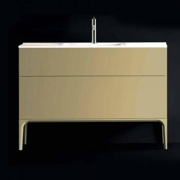 Badezimmerschrank mit Waschbecken in lackiertem Holz 120x85x46cm Bernstein, made in Italy