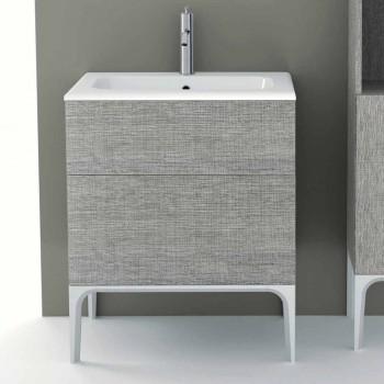 Badezimmerschrank mit integriertem Waschbecken in Ambra ecolegno, hergestellt in Italien