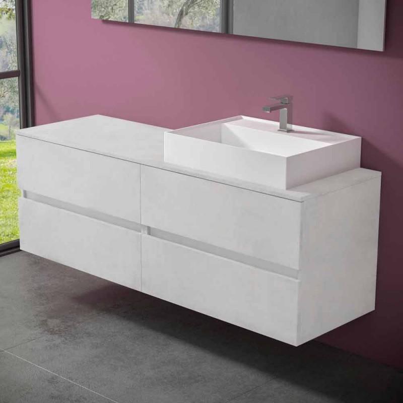 Badezimmerschrank in modernem Design mit Waschbecken für die rechte oder linke Arbeitsplatte 4 - Alchimeo