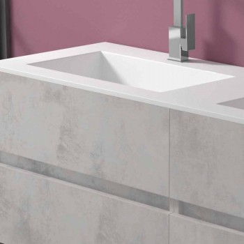 Doppelwaschbecken Badezimmerschrank, modernes Design in 4 Ausführungen aufgehängt - Doublet