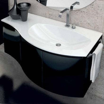 Moderner Badezimmerschrank mit dreitürigem Waschbecken in Gioia schwarz lackiertem Holz