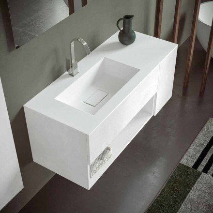 Abgehängter Badezimmerschrank mit integriertem Waschbecken, modernes Design, 4 Oberflächen - Pistillo