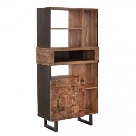 Design Bücherregal aus Eisen und Akazienholz - Desdemona