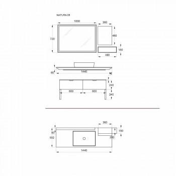 Luxus-Badezimmermöbel im modernen Design in Naturholz und Schwarz - Alide