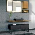 Badezimmermöbel-Komposition 150 cm in Luxus Naturholz - Alide