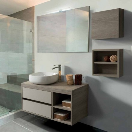 Badezimmerschrank 100 cm, Spiegel, Waschbecken und Ablage - Becky