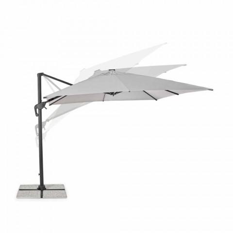 3x3 Außenschirm aus grauem Polyester und anthrazitfarbenem Aluminium - Coby
