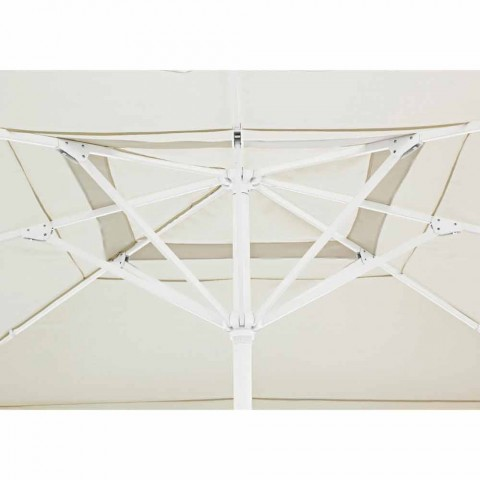 4x4 Gartenschirm mit Polyestertuch und Stahlsockel - Nastio