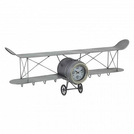 Flugzeugförmige Wanduhr aus Stahl und Glas Homemotion - Plano