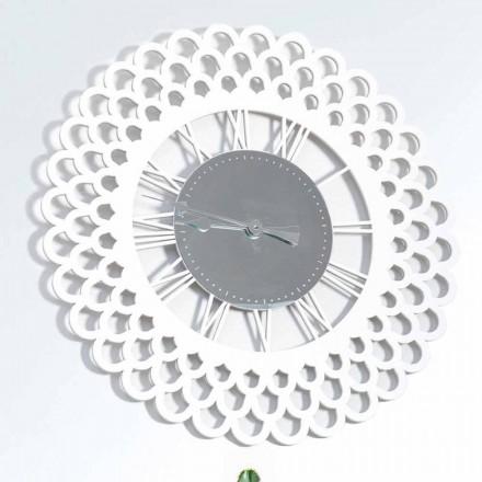 Weiße Holzwanduhr Großes und modernes Blumenmuster - Gerbera
