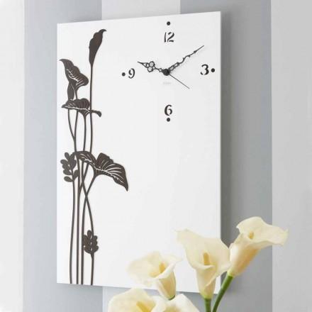 Moderne rechteckige Wanduhr in weiß verziertem Design Holz - Croco