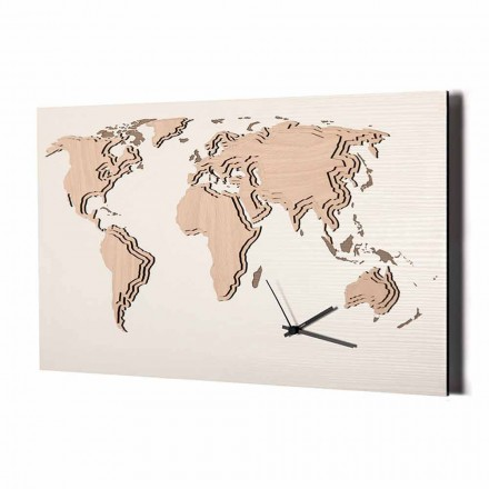 Holzwanduhr mit Weltkartendekoration Made in Italy - Mappo