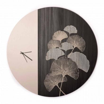 Rundes Design Holzwanduhr mit Dekorationen, 2 Oberflächen, Made in Italy - Ginkgo