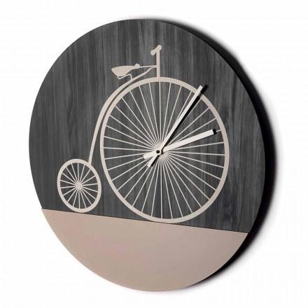 Design Wanduhr aus rundem Holz in 2 Ausführungen, Made in Italy - Byko