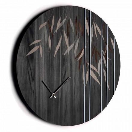 Wanduhr aus Eichenholz oder Tafel Lasergravur Design Round - Kanno