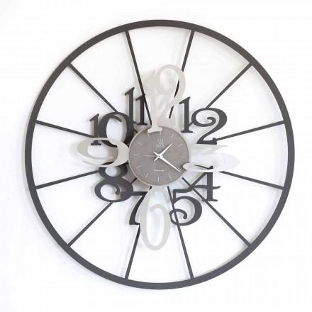 Moderne runde Wanduhr aus Eisen zweifarbig Made in Italy - Calipso