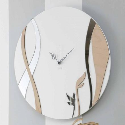 Moderne und runde Wanduhr mit dekoriertem Holzdesign - Harmonie