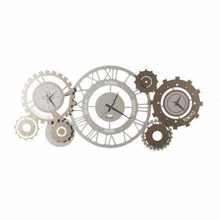 Moderne Wanduhr aus Eisen mit drei Zeitzonen Made in Italy - Meccanismo