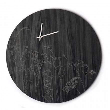 Moderne runde Design Holzwanduhr und Lasergravur - Florinto