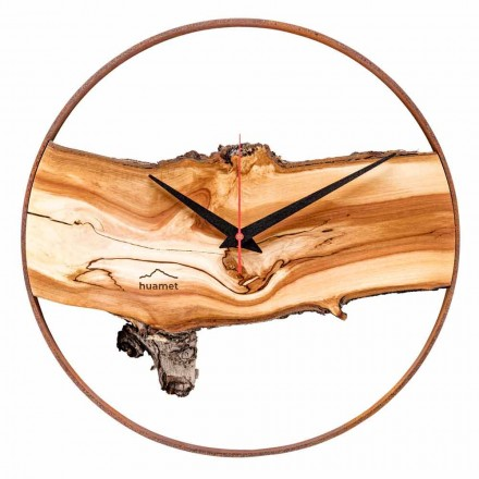 Runde Wanduhr aus massivem Apfelholz Made in Italy - Sirmione