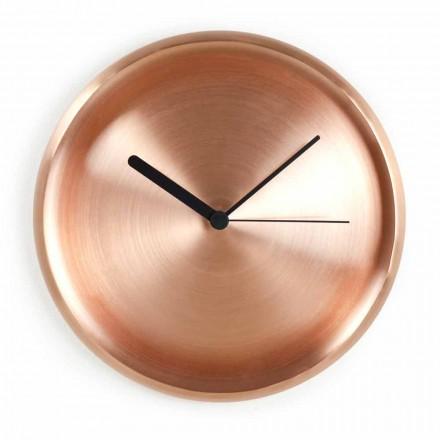 Runde Wanduhr in poliertem Kupfer Design Made in Italy - Ogio