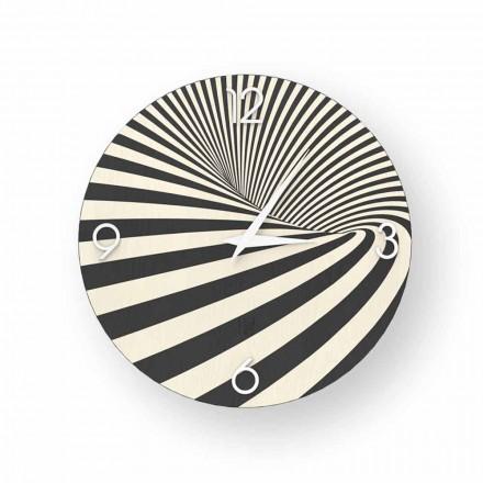 Designuhr aus dekoriertem Holz Azzio, 100% in Italien hergestellt