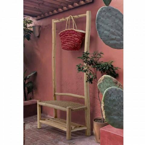 Außenbank mit Kleiderbügel aus Teakholz und gewebten Fasern - Pfirsich