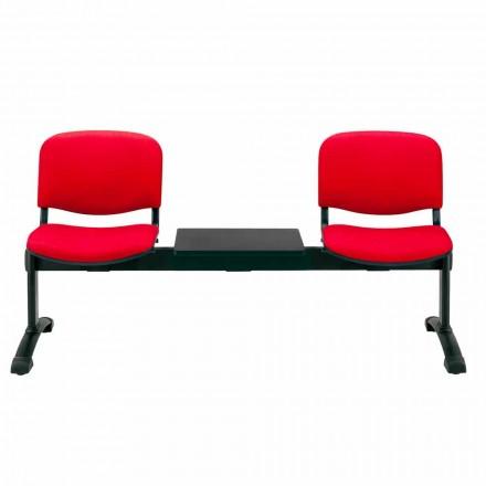 Sitzbank für Wartezimmer 2 Sitzplätze aus Tissue, Kunstleder oder Buche - Carmela