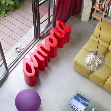 Design farbige Außen- / Innenbank Slide Amore, hergestellt in Italien