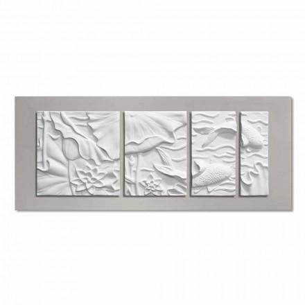 Dekorative Wandplatte Modernes Design Weiße und Graue Keramik - Giappoko