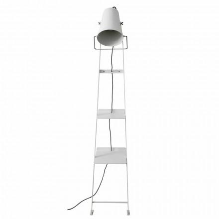 Wohnzimmer Stehlampe aus weißem oder mattschwarzem Metall mit Regalen - Butler