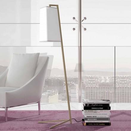 Metall Stehlampe mit modernem Lampenschirm aus weißer Baumwolle Made in Italy - Barton