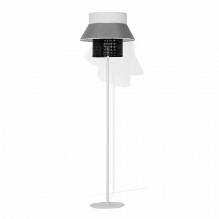 Moderne Stehlampe aus Metall und Lampenschirm aus Baumwolle und Rattan Made in Italy - Sailor