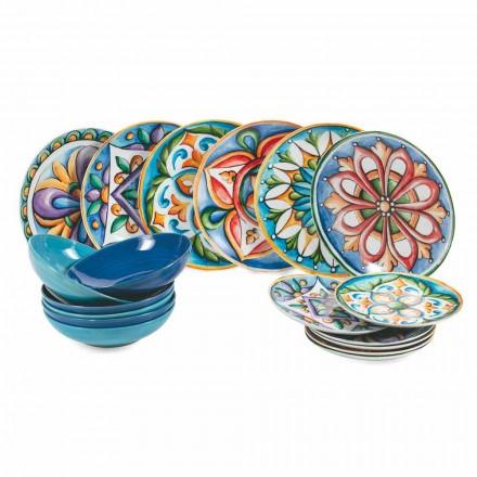 Farbige und moderne ethnische Teller in Porzellan und Steinzeug 18-teiliger Service - Maia