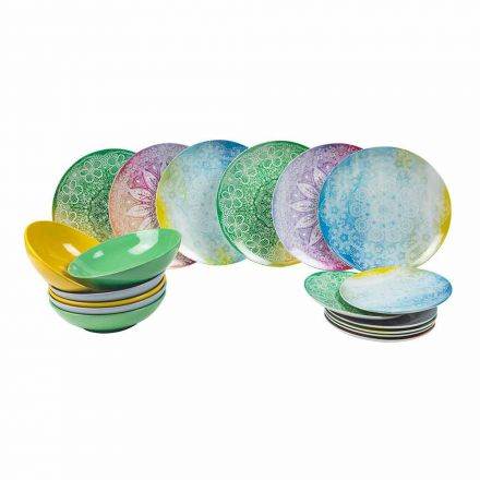 Farbige Gerichte aus Porzellan 18 Stück Serviertisch - Ipanema