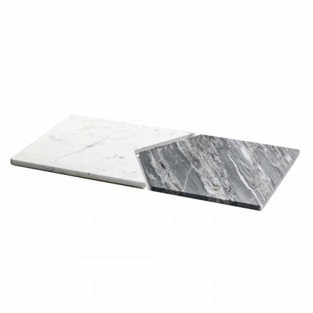Servierteller aus Carrara und Bardiglio Marmor Made in Italy, 2 Stück - Erbse