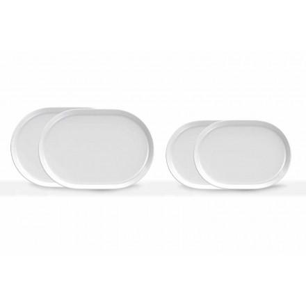 Weißes ovales Servierteller des modernen Designs in Porzellan 4 Stück - Arktis