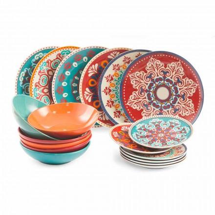 Ethnische Gerichte 18 Stück farbiger Tischservice aus Porzellan und Steinzeug - Persien