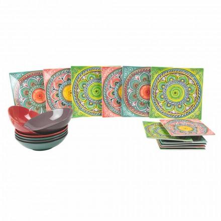 Quadratische farbige ethnische Teller in Porzellan und Steinzeug Service 18 Stück - Kanarienvogel
