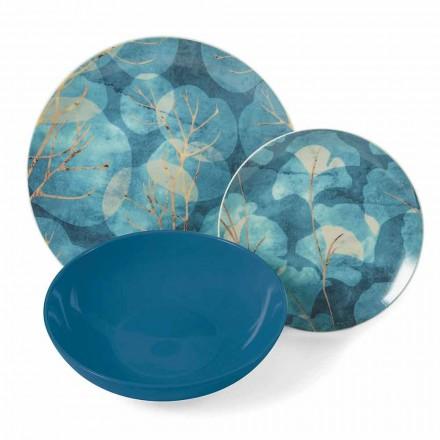Modernes blaues oder rosa Steinzeug und Porzellanteller 18 Tischartikel - Herbst