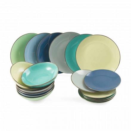 Teller aus farbigem modernem Steinzeug 18 Stück Kompletter Tischservice - Regal